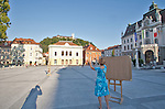 Slovenia, Ljubljana, Ljubljana University,  Kongresni Trg, art class, pedestrian friendly, car-free environment, Baroque architecture, Europe, European Union,