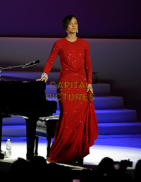 21 January 2013 - Washintong D.C. - 2013 Inaugural Ball at the Washington Convention Center.  .on stage in concert live gig performance performing music full length red dress piano  .CAP/ADM/CNP/RS.©Ron Sachs/CNP/AdMedia/Capital Pictures.