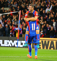 Goalscorer James McArthur of Crystal Palace and Wilfried Zaha of Crystal Palace celebrate during the EPL - Premier League match between Crystal Palace and Liverpool at Selhurst Park, London, England on 29 October 2016. Photo by Steve McCarthy.