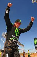 Apr 16, 2011; Surprise, AZ USA; LOORRS driver Rick Huseman (36) after winning round 3 at Speedworld Off Road Park. Mandatory Credit: Mark J. Rebilas-.