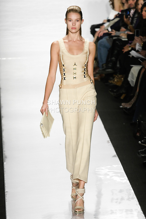 Keke Lindgard walks runway in an outfit from the Herve Leger by Max Azria Fall 2011 collection, during Mercedes-Benz Fashion Week, Fall 2011.