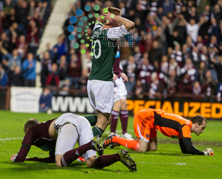 Hearts v Hibernian  SPL season 2012-2013 ..Eoin Doyle rues miss during the Clydesdale Bank Premier League match between Hearts and Hibernian at Tynecastle Stadium on Thursday 3 January 2013..Picture: Alan Rennie. Universal News & Sport