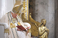 Pope Benedict XVI leads Vespers on the Feast of the Conversion of the Apostle Paul on January 25, 2012 at the Saint Paul outside the walls basilica in Rome. .