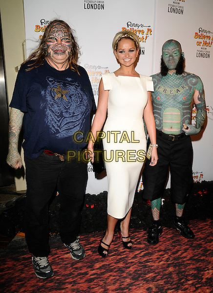 JENNIFER ELLISON & GUESTS.Ripley's Believe it or Not - Red Hot Carpet Gala, Trocadero Centre, London, England. .September 3rd, 2008.full length white cream dress black clutch bag tattoos make-up hand funny t-shirt cat tiger snake.CAP/CAN.©Can Nguyen/Capital Pictures.