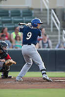 Dom Nunez (9) of the Asheville Tourists at bat against the Kannapolis Intimidators at Intimidators Stadium on June 25, 2015 in Kannapolis, North Carolina.  The Intimidators defeated the Tourists 9-8.  (Brian Westerholt/Four Seam Images)