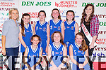 The St Anthony's team that played St Marys in the U14 girls final in the St Marys Basketball blitz at Castleisland Community Centre on Tuesday 30th December front row l-r: Sarah O'Shaugnessy, Mia Burke, Sinead Crowley. Back row: Deirdre Leen Coach, Doireann O'Brien, Isabelle Canning, Ellie Leen, Sally Hickey and Roisin Casey Miss Basketball
