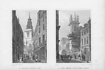 Churches St Michael, Crooked Lane, St Mary Somerset, Upper Thames Street,  engraving 'Metropolitan Improvements, or London in the Nineteenth Century' London, England, UK 1828