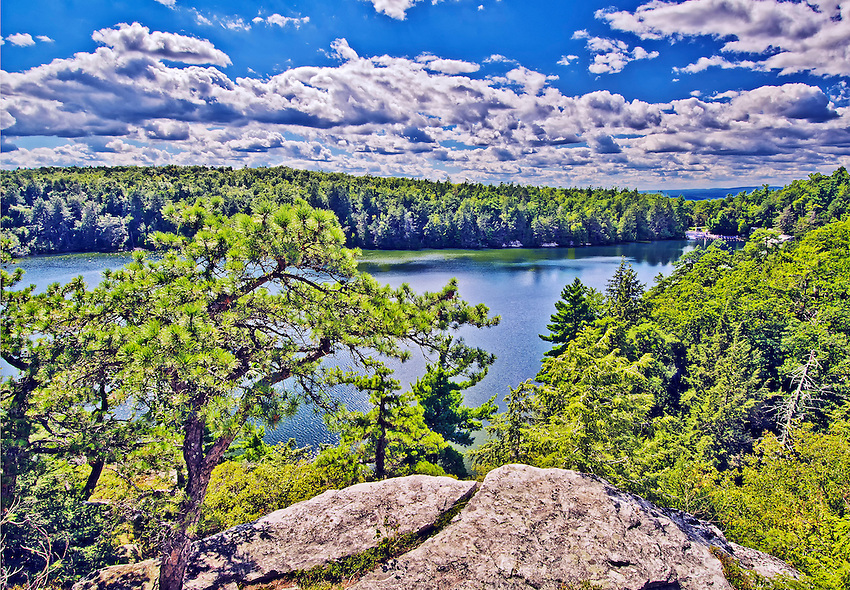 A bird's-eye view of Lake Minnewaska, located in Minnewaska State Park, near New Paltz in Ulster County, New York