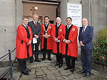 Cllr Micheal O'Dowd, Rev John Woodside, Mayor Kevin Callan, Cllr Frank Maher, Cllr Ritchie Cullhane and Bill McIlreavy pictured at the last ever service at Drogheda Presbyterian church Palace Street. Photo: Colin Bell/pressphotos.ie