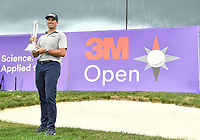 26th July 2020, Blaine, MN, USA;  Michael Thompson holds the trophy he was presented for winning the 3M Open golf tournament at TPC Twin Cities in Blaine, Minnesota