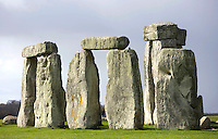 Fragments of the circle of Sarsen stones with lintels, Stonehenge, Neolithic and Bronze Age megalithic monument, 3050 - 1500 BC, Salisbury, Wiltshire, England, UK. Picture by Manuel Cohen