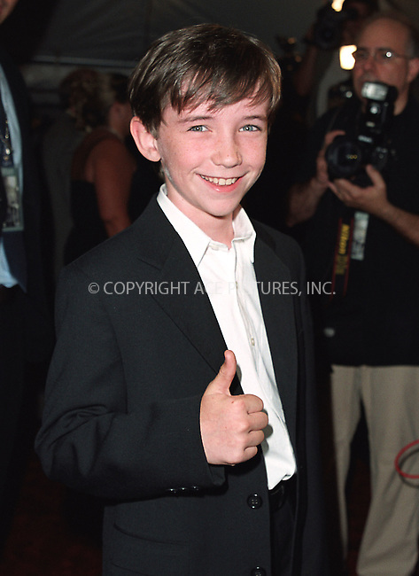 "Young actor Liam Aiken attending a special screening of ""Road to Perditon"" to benefit the Association of the HITWG Camps and the International Rescue Committee. New York, July 9, 2002.  Please byline: Alecsey Boldeskul/NY Photo Press.   ..*PAY-PER-USE*      ....NY Photo Press:  ..phone (646) 267-6913;   ..e-mail: info@nyphotopress.com"