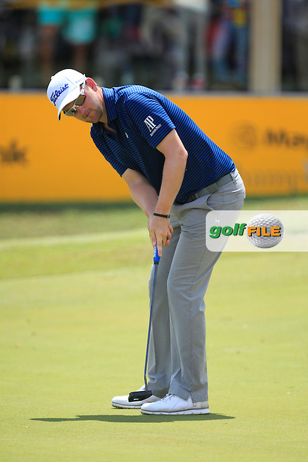 Bernd Wiesberger (AUT) on the 18th green during Round 4 of the Maybank Championship on Sunday 12th February 2017.<br /> Picture:  Thos Caffrey / Golffile<br /> <br /> All photo usage must carry mandatory copyright credit     (&copy; Golffile | Thos Caffrey)