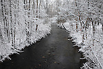 Snow Covered Trees Framing A Little Stream During Winter In The Park, Sharon Creek At Sharon Woods, Southwestern Ohio, USA