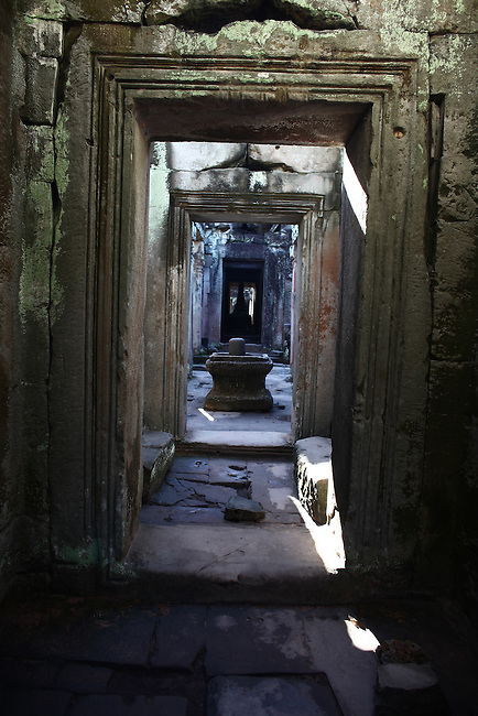An empty corridor at Preah Khan, in Angkor Thom, Cambodia. June 8, 2013.