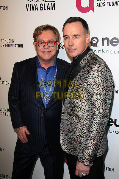 WEST HOLLYWOOD, CA - March 02: Elton John, David Furnish 22nd Annual Elton John AIDS Foundation Oscar Viewing Party Arrivals, Private Location, West Hollywood,  March 02, 2014. <br /> CAP/MPI/JO<br /> &copy;JO/MPI/Capital Pictures