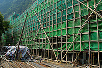 Bamboo scaffolding at a construction site, Yangsuo, Guangxi, China.