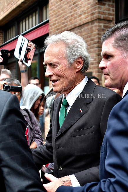 www.acepixs.com<br /> <br /> September 6 2016, New York City<br /> <br /> Actor and director Clint Eastwood leaves a downtown hotel on September 6 2016 in New York City<br /> <br /> By Line: Curtis Means/ACE Pictures<br /> <br /> <br /> ACE Pictures Inc<br /> Tel: 6467670430<br /> Email: info@acepixs.com<br /> www.acepixs.com