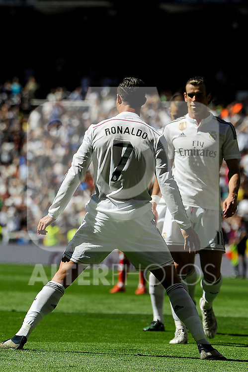 Real Madrid´s Cristiano Ronaldo and Gareth Bale celebrates a goal during 2014-15 La Liga match between Real Madrid and Granada at Santiago Bernabeu stadium in Madrid, Spain. April 05, 2015. (ALTERPHOTOS/Luis Fernandez)