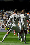 Real Madrid´s Cristiano Ronaldo and Gareth Bale celebrates a goal during 2014-15 La Liga match between Real Madrid and Granada at Santiago Bernabeu stadium in Madrid, Spain. April 05, 2015. (ALTERPHOTOS/Luis Fernandez)