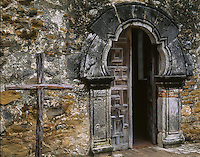 Cross and Door to Espada Mission, San Antonio, Texas