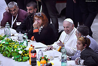 Pope Francis  has a lunch with destitute people, on November 18, 2018,  in Vatican