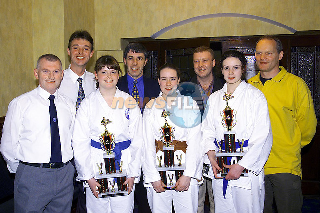 02 back; Martin Fogarty, Brookville, Thomas Clinton, John McGuire, Tony Levins and Fergus Caverly all Drogheda concentrates with front; Ladies team Kumite winners, Elaine Lawless, Pearse Park, Glenda Gibney, Westcourt and Rachel McGuire, Georgian Close at the Drogheda school of Karate/ Drogheda Concentrates Home International Karate Tournament in the Bridgford Conference Centre..Pic Newsfile