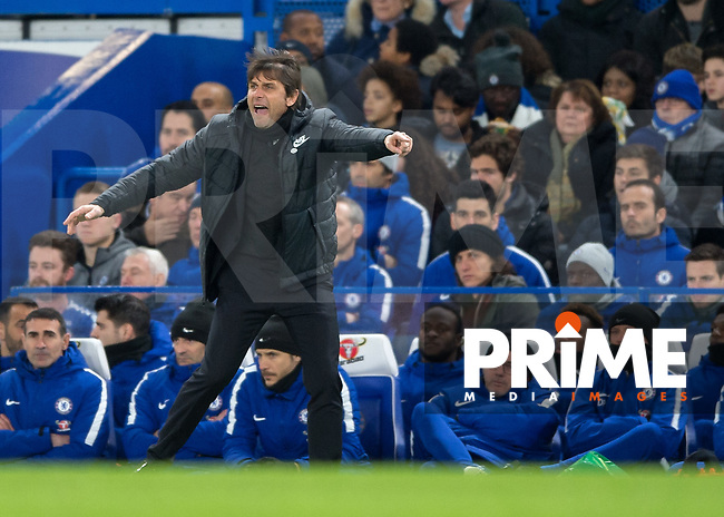 Antonio Conte manager of Chelsea during the FA Cup 5th round match between Chelsea and Hull City at Stamford Bridge, London, England on 16 February 2018. Photo by Vince  Mignott / PRiME Media Images.