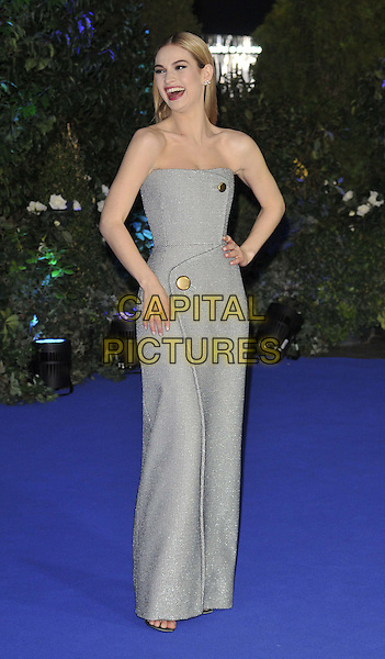 LONDON, ENGLAND - MARCH 19: Lily James attends the &quot;Cinderella&quot; UK film premiere, Odeon Leicester Square cinema, Leicester Square, on Thursday March 19, 2015 in London, England, UK. <br /> CAP/CAN<br /> &copy;Can Nguyen/Capital Pictures