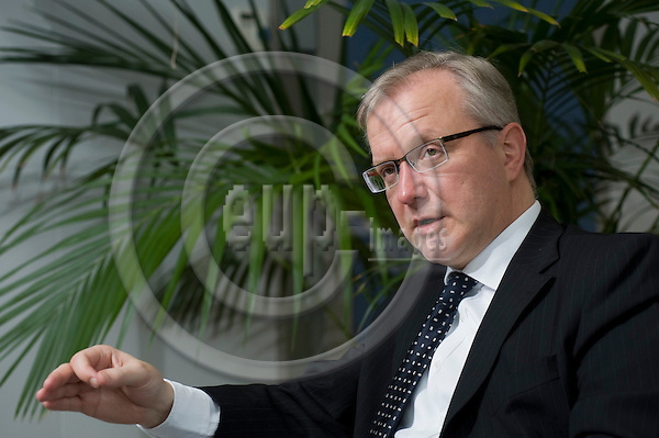 Brussels-Belgium - April12, 2010 -- Olli REHN, European Commissioner from Finland, in charge of Economic and Monetary Affairs, during an interview in his office -- Photo: Horst Wagner / eup-images