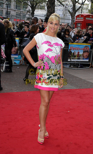 "DANIELLE LOYD .World Premiere of ""Three and Out"" at the Odeon Leicester Square, London, England, April 21st 2008.3 full length white pink purple bird  zebra  print motif top blonde hair hand on hip platform peep toe shoes .CAP/ROS.©Steve Ross/Capital Pictures"