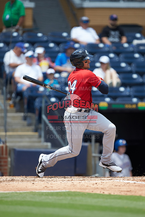 Trayce Thompson (24) of the Columbus Clippers follows through on his swing against the Durham Bulls at Durham Bulls Athletic Park on June 1, 2019 in Durham, North Carolina. The Bulls defeated the Clippers 11-5 in game one of a doubleheader. (Brian Westerholt/Four Seam Images)
