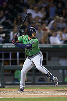 Adam Duvall (14) of the Gwinnett Braves at bat against the Charlotte Knights at BB&T BallPark on July 12, 2019 in Charlotte, North Carolina. The Stripers defeated the Knights 9-3. (Brian Westerholt/Four Seam Images)