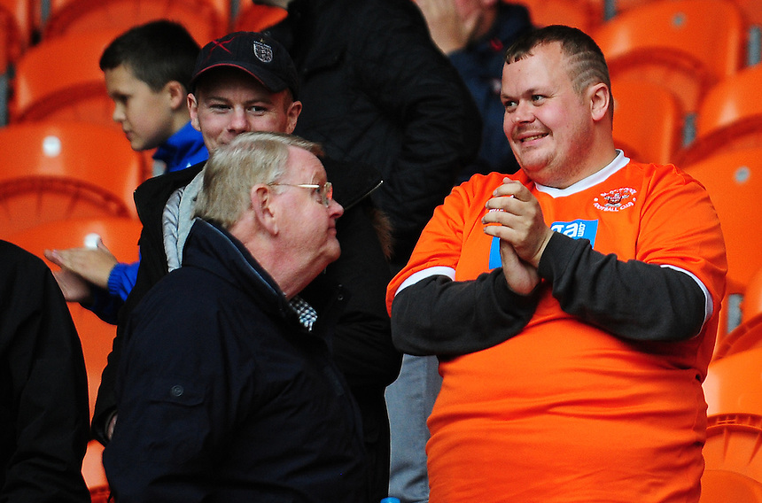 Blackpool fans applaud their side following their 1-0 win over Swindon Town<br /> <br /> Photographer Kevin Barnes/CameraSport<br /> <br /> Football - The Football League Sky Bet League One - Blackpool v Swindon Town - Saturday 3rd October 2015 - Bloomfield Road - Blackpool<br /> <br /> &copy; CameraSport - 43 Linden Ave. Countesthorpe. Leicester. England. LE8 5PG - Tel: +44 (0) 116 277 4147 - admin@camerasport.com - www.camerasport.com