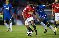 Tosin Kehinde of Manchester United & Joseph COLLEY of Chelsea during the U23 Premier League 2 match between Chelsea and Manchester United at the EBB Stadium, Aldershot, England on 18 September 2017. Photo by Andy Rowland.