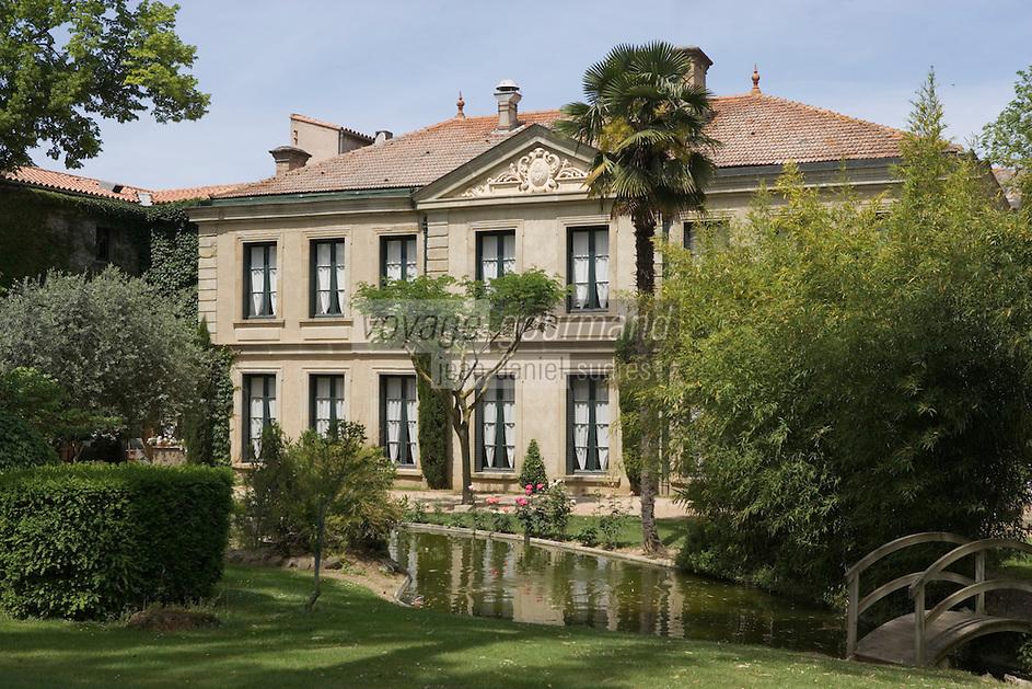 Europe/France/Languedoc-Rousillon/Aude/Carcassonne: Domaine d'Auriac Hotel-Restaurant la gentilhommière du XIX dans son parc