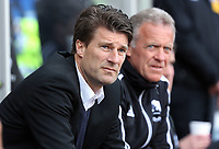 Pictured L-R: Swansea manager Michael Laudrup and Alan Curtis. Saturday 04 May 2013<br /> Re: Barclay's Premier League, Swansea City FC v Manchester City at the Liberty Stadium, south Wales.