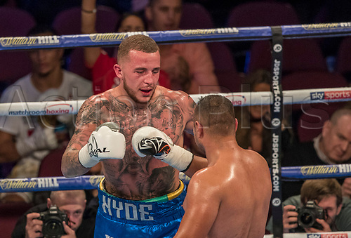 7th October 2017, Manchester Arena, Manchester, England; Matchroom Boxing, Crolla versus Burns; Gheorge Danut congratulates Sam Hyde on winning the fight