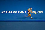 Shuai Peng of China hits a return during the singles Round Robin match of the WTA Elite Trophy Zhuhai 2017 against Elena Vesnina of Russia at Hengqin Tennis Center on November  03, 2017 in Zhuhai, China.  Photo by Yu Chun Christopher Wong / Power Sport Images