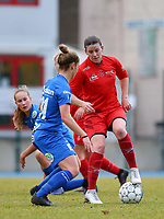 20191221 - WOLUWE: Woluwe's Lynn Senaeve in action (right) while Gent's Sofie Vanhooren defends (left) during the Belgian Women's National Division 1 match between FC Femina WS Woluwe A and KAA Gent B on 21st December 2019 at State Fallon, Woluwe, Belgium. PHOTO: SPORTPIX.BE | SEVIL OKTEM
