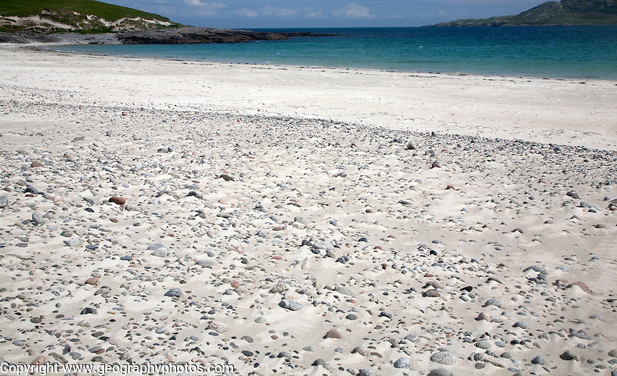 Sandy beach at Bagh a Deas, South Bay, Vatersay island, Barra, Outer Hebrides, Scotland, UK