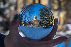 December 10, 2017; Main quad refracted in a crystal ball. 4 of 12 (Photo by Matt Cashore/University of Notre Dame)