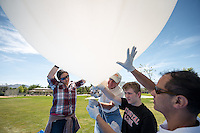 Occidental College physics students Nicole Chen '14, left, and Jack Nelson '17 (second from right) build and launch a high-altitude helium balloon carrying a payload of sensors, a video camera and a modified stills camera that will fly to near space. The project was organized by Physics lab supervisor Chuck Oravec, center. Adjunct assistant professor Rafael Araya-Gochez of the Physics Department also helped. The balloon was launched from Acton, Calif. on May 4, 2014. The balloon, at first thought to be lost, was eventually recovered using the GPS transponder. It was way off course, ending up at Fort Irwin in the Mojave Desert. Due to finals, Nicole and Jack could not be there for the recovery.<br /> (Photo by Marc Campos, Occidental College Photographer)