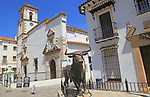 Sculpture of bull, village of Grazalema, Cadiz province, Spain celebrating local farming traditions