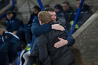 29th January 2020; McDairmid Park, Perth, Perth and Kinross, Scotland; Scottish Premiership Football, St Johnstone versus Celtic; St Johnstone  manager Tommy Wright hugs Celtic manager Neil Lennon