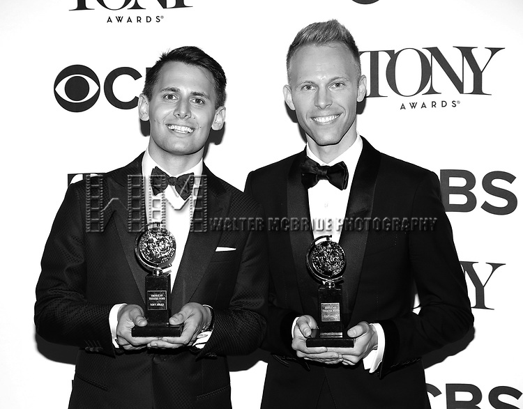 Benj Pasek and Justin Paul poses at the 71st Annual Tony Awards, in the press room at Radio City Music Hall on June 11, 2017 in New York City.