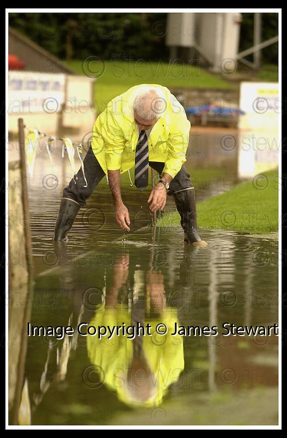 06/08/2002                   Copyright Pic : James Stewart.File Name : stewart-st johnstone flood 06.THE ST JOHNSTONE STAFF WORK TO GET RID OF THE WATER THAT FELL ONTO MCDIARMID PARK DURING A FLASH THUNDERSTORM......Payments to :-.James Stewart Photo Agency, 19 Carronlea Drive, Falkirk. FK2 8DN      Vat Reg No. 607 6932 25.Office     : +44 (0)1324 570906     .Mobile  : +44 (0)7721 416997.Fax         :  +44 (0)1324 570906.E-mail  :  jim@jspa.co.uk.If you require further information then contact Jim Stewart on any of the numbers above.........