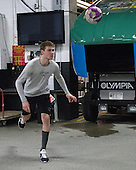 Mark Jankowski (PC - 10)- The Providence College Friars warmed up prior to the Frozen Four final at TD Garden on Saturday, April 11, 2015, in Boston, Massachusetts.