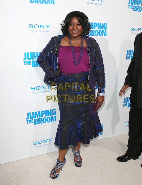 LORETTA DEVINE .at The Screen Gems L.A. Premiere of Jumping the Broom held at The Cinerama Dome Theatre in Hollywood, California, USA, May 4th 2011..full length hand on hip pink purple top blue skirt jacket  necklace                                 .CAP/RKE/DVS.©DVS/RockinExposures/Capital Pictures.