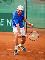 Netherlands, Amstelveen, August 21, 2015, Tennis,  National Veteran Championships, NVK, TV de Kegel,  Frank van Lerven<br /> Photo: Tennisimages/Henk Koster